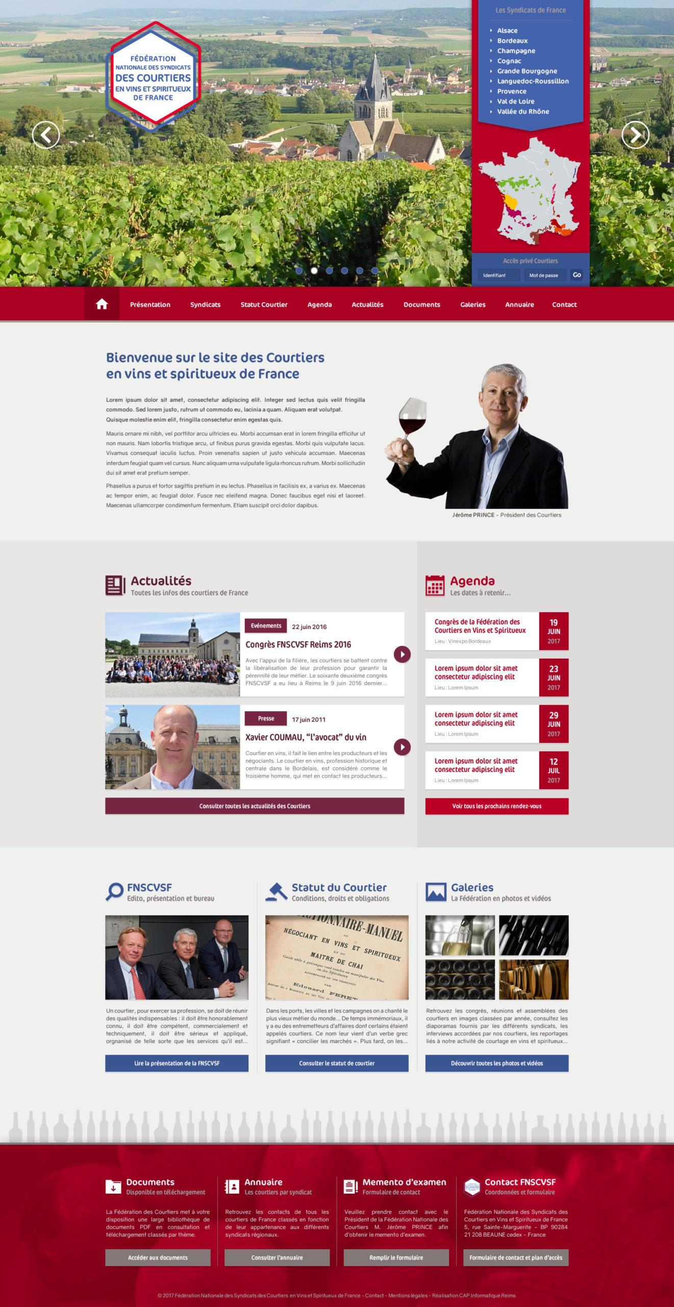Design du site de la Fédération Nationale des Courtiers en Vins et Spiritueux