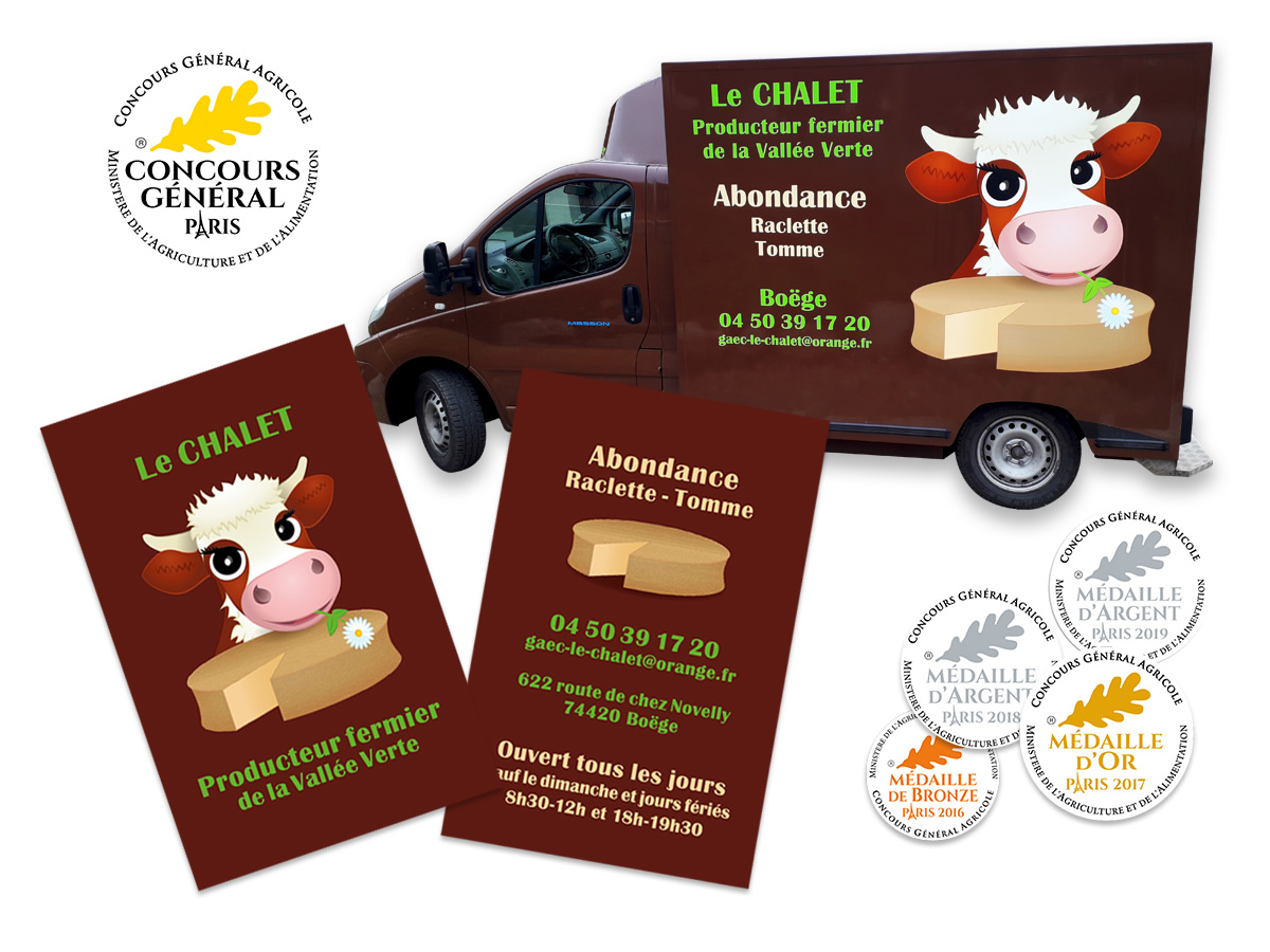 Habillage de véhicule et cartes de visite Le Chalet Abondance