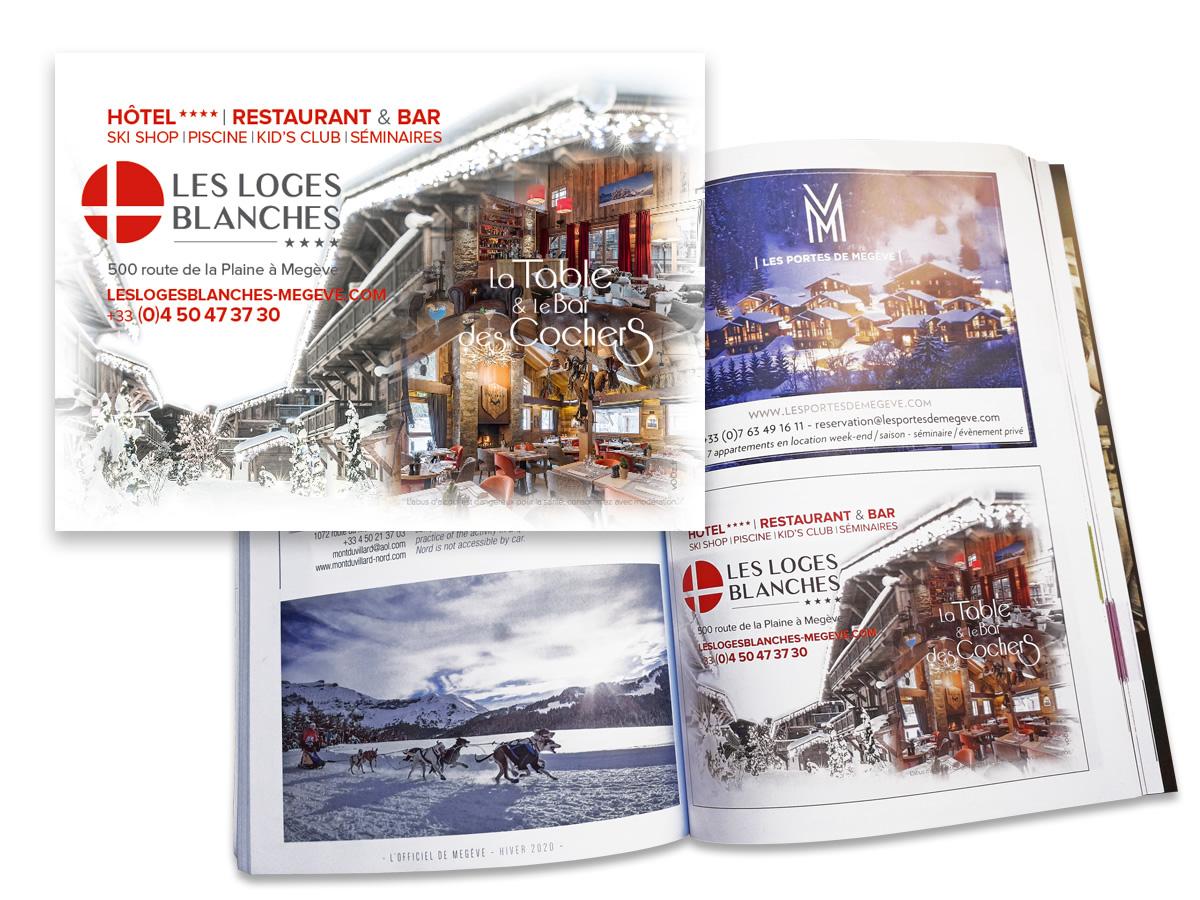 Encart publicitaire l'Officiel de Megève hiver 2020
