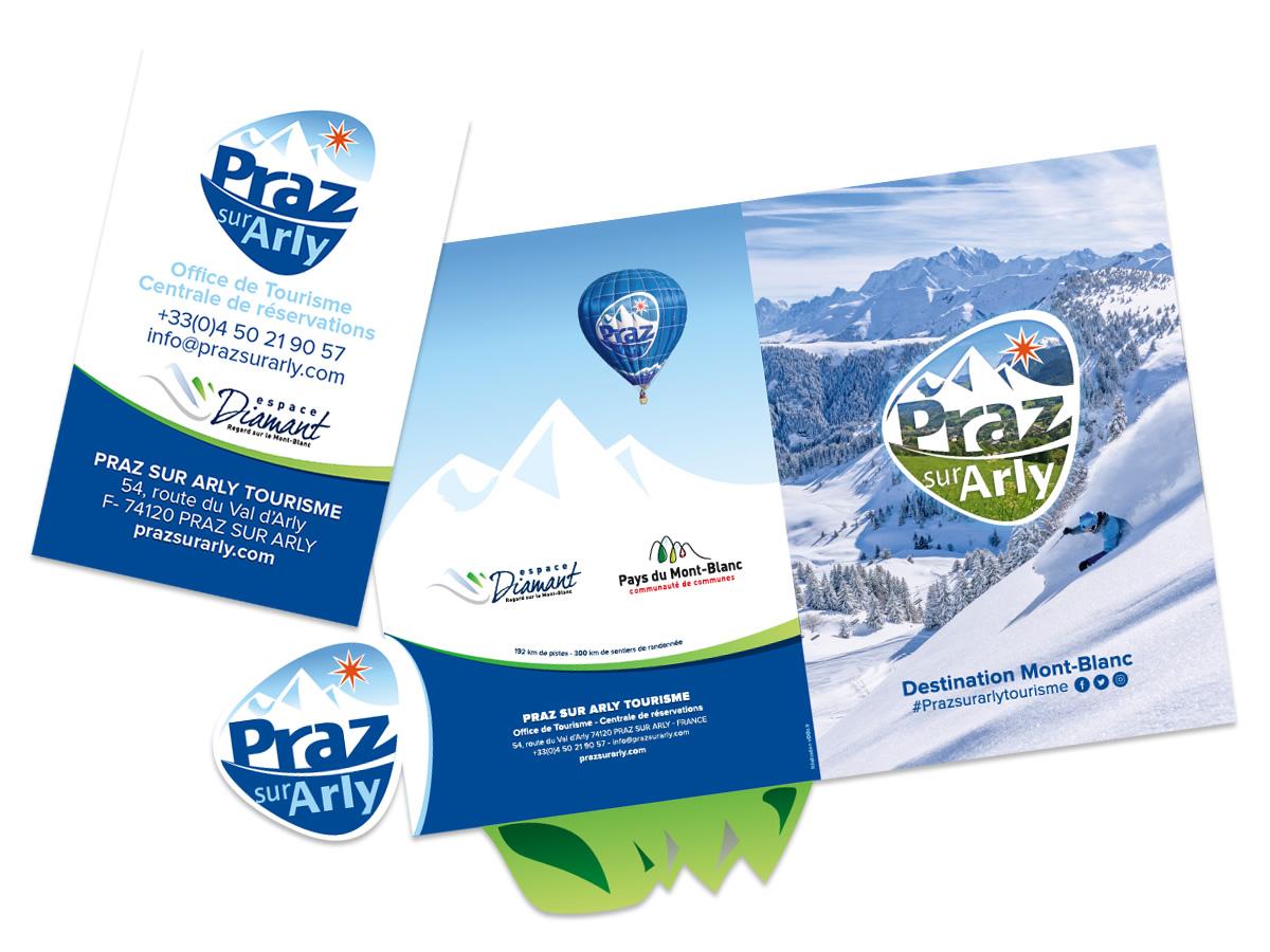 Pochette à rabat et cartes de visite Office de Tourisme de Praz-sur-Arly