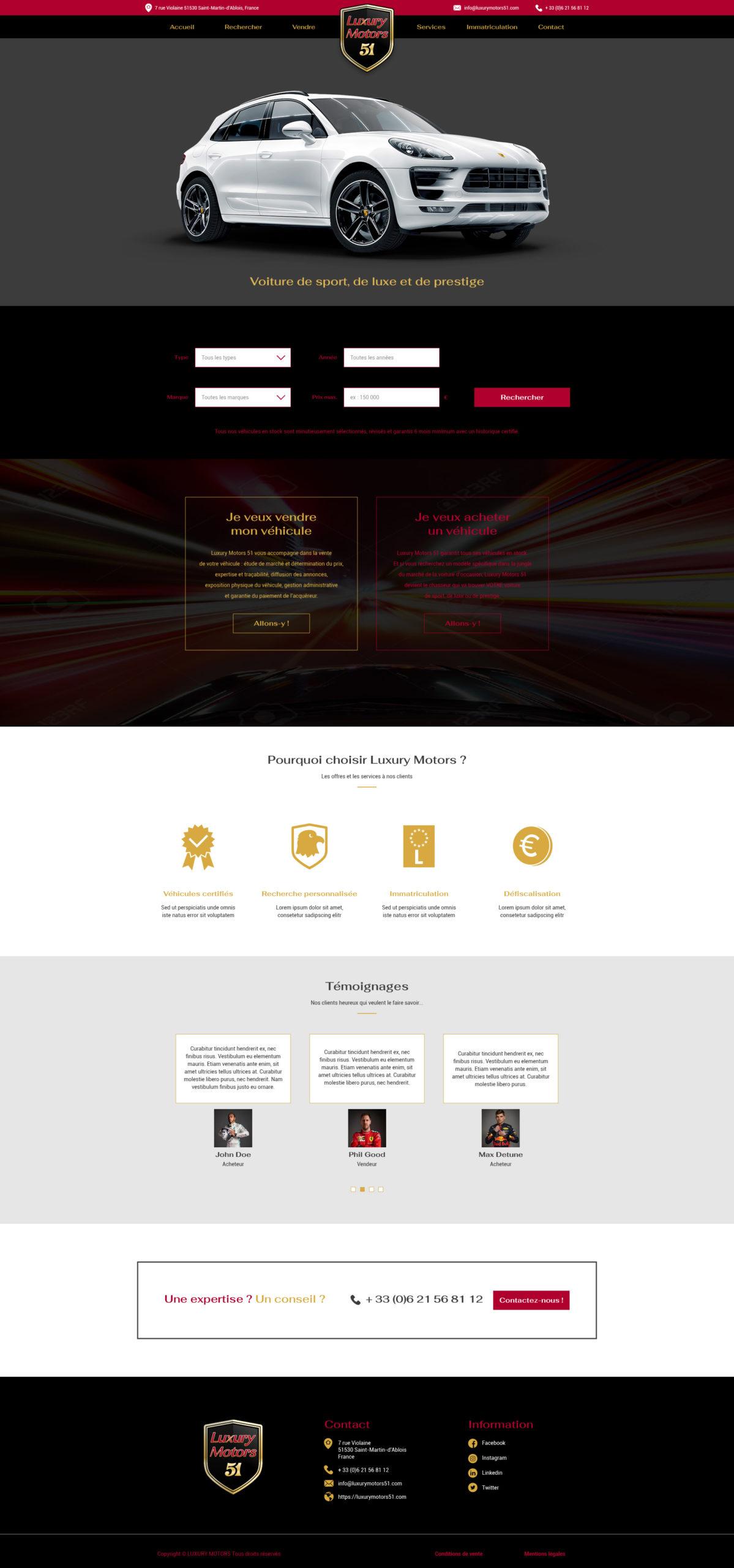 Design du site Luxury Motors