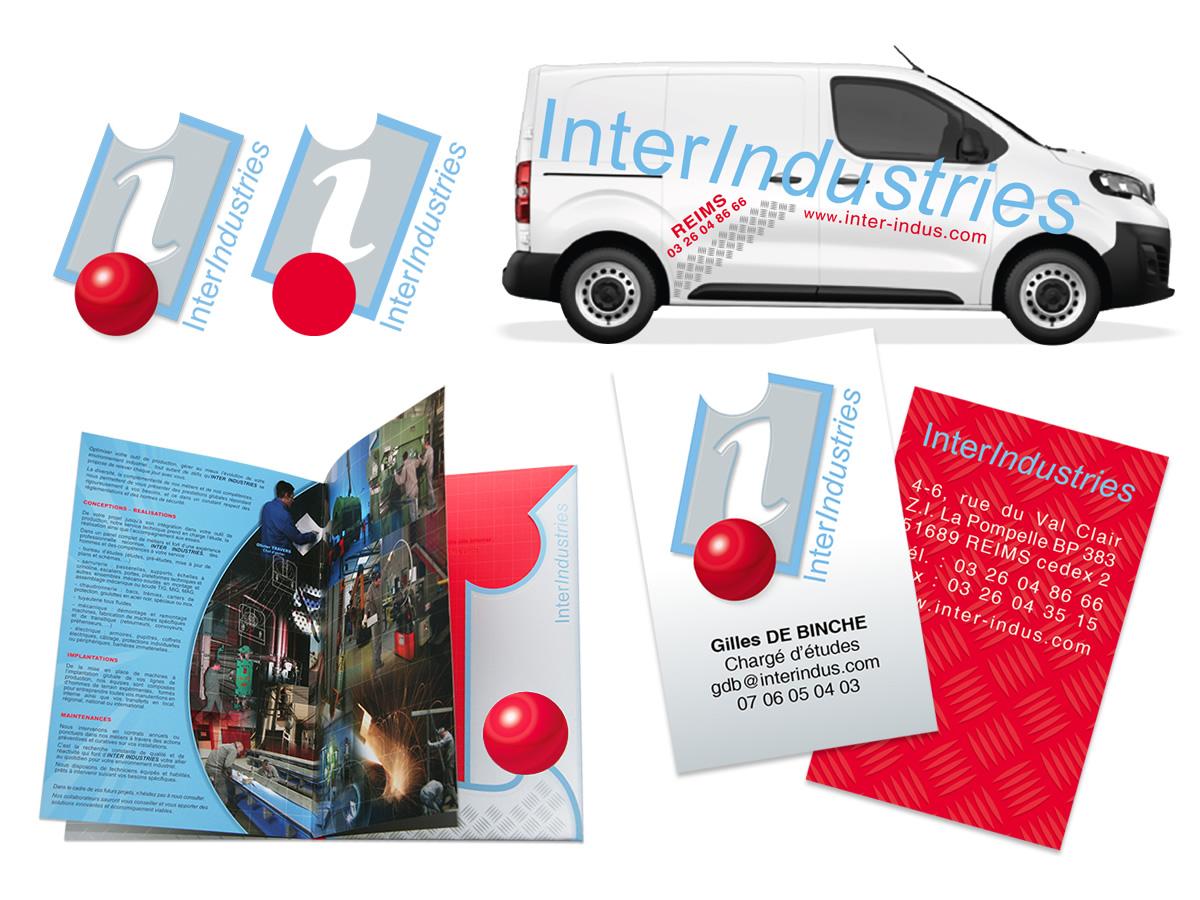 Cartes de visite, plaquettes, flyers, notebooks, site Internet, véhicules Inter Industries