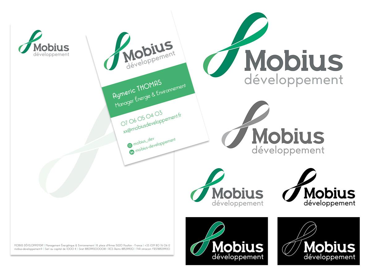 Charte logo, entêtes, cartes de visite et design du site Internet Mobius développement