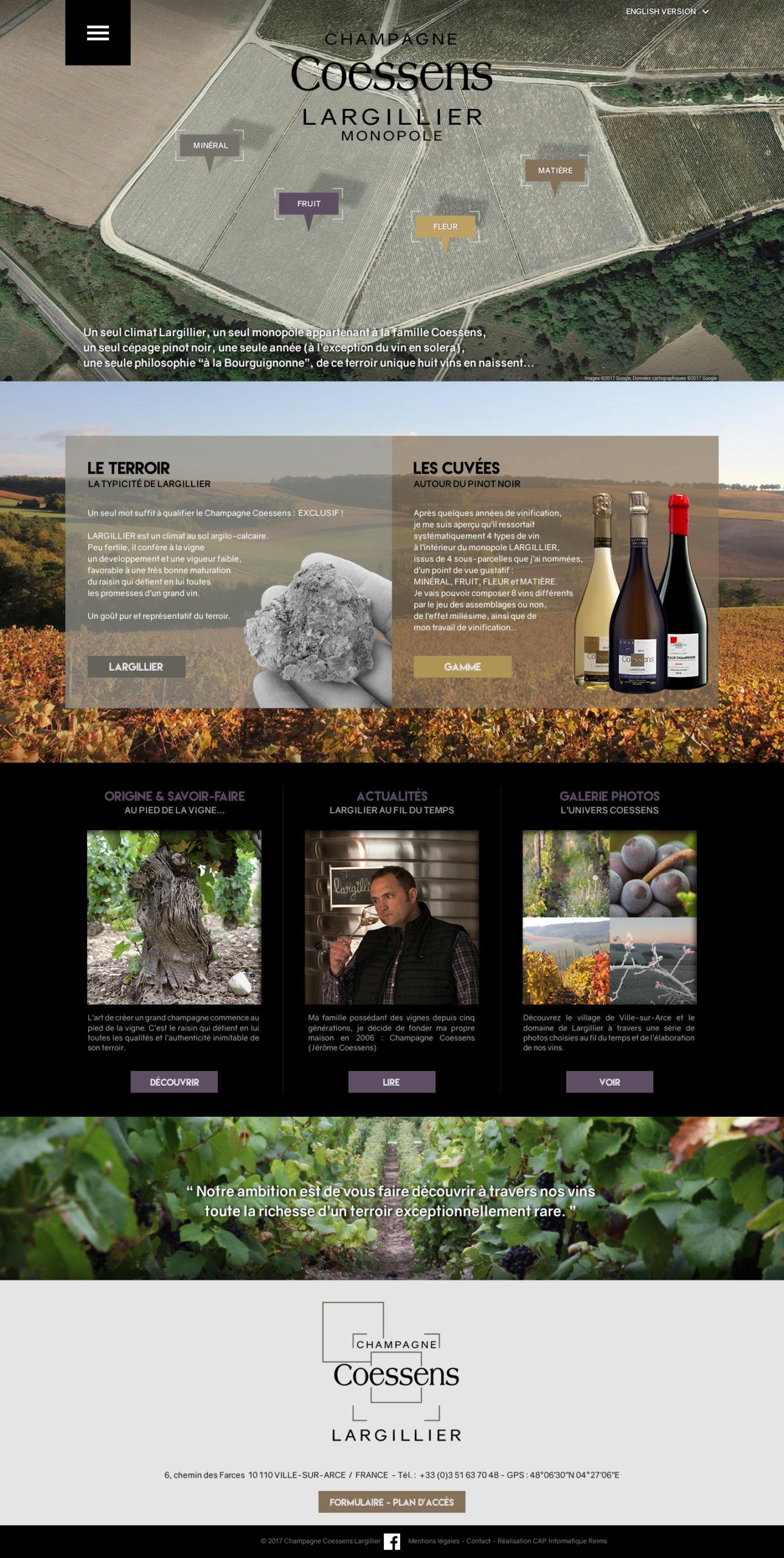 Design du site champagne Coessens