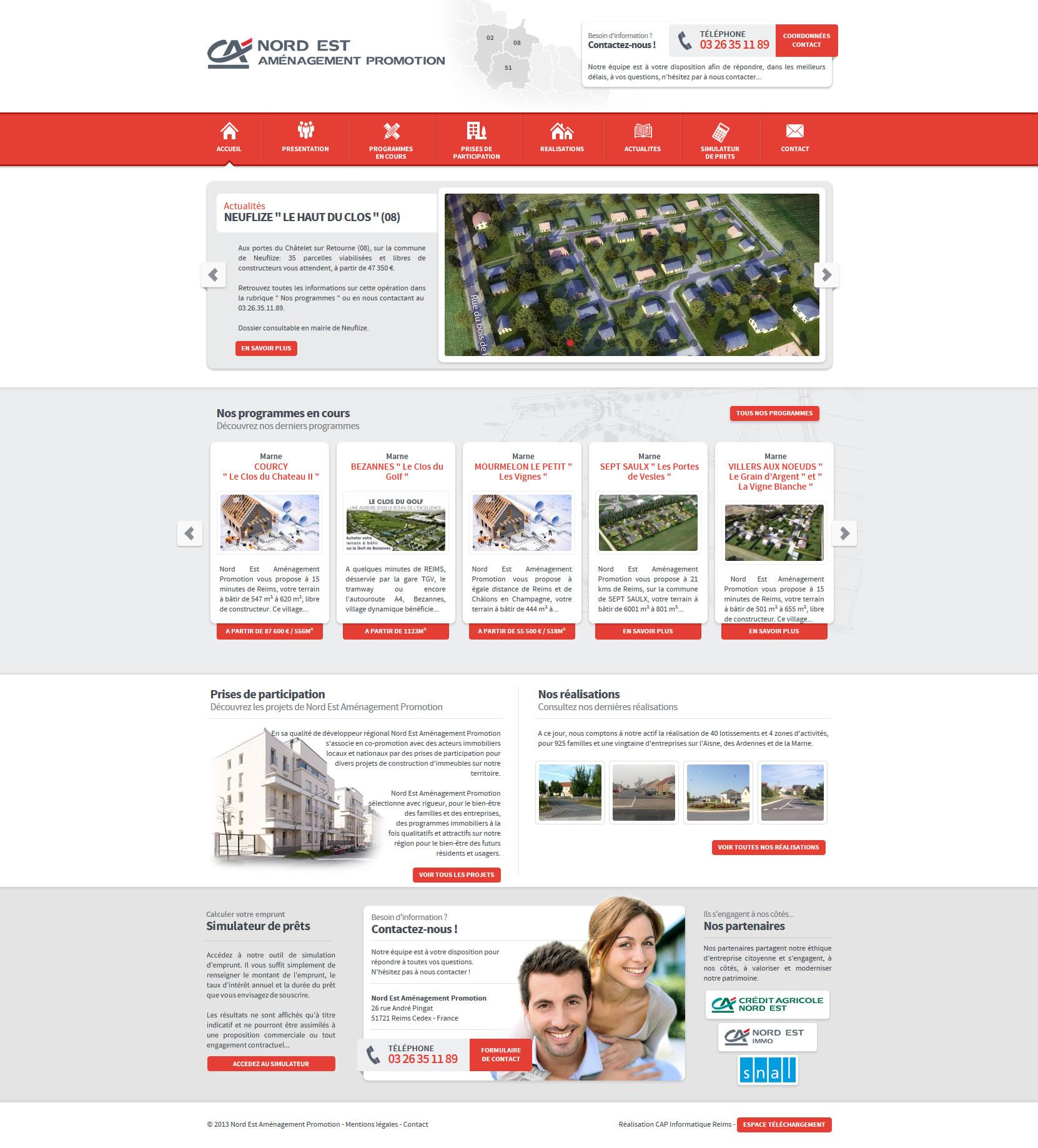 Design du site Crédit Agricole Nord Est Aménagement Promotion