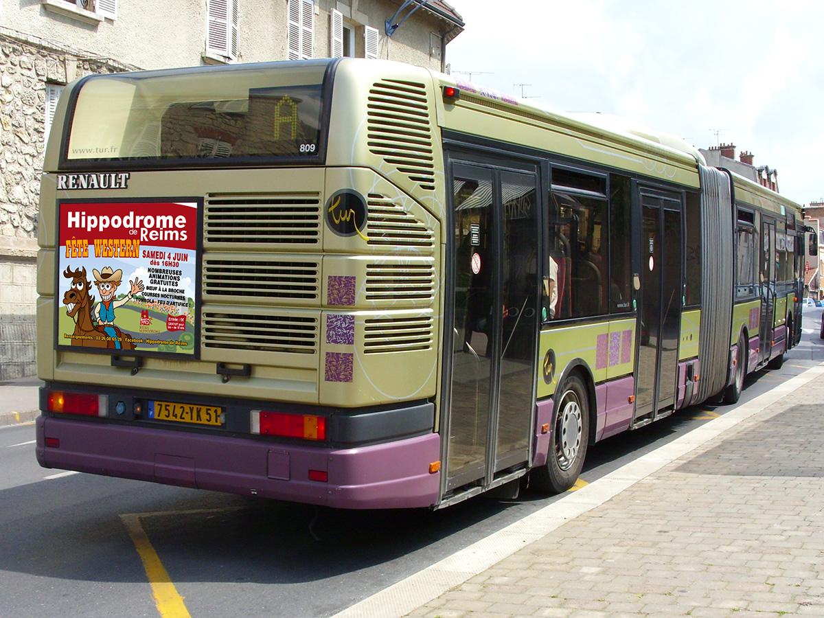 Campagne d'affichage arrière de bus Hippodrome de Reims